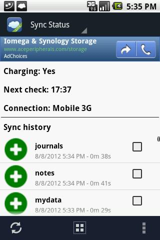 Cloud storage MySword data backup and synchronization
